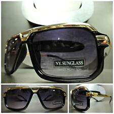 Men Women CLASSIC VINTAGE RETRO Old School Style SUN GLASSES Black & Gold Frame