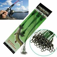 20Pcs/set Green Traces Wires Pike Card Swivels Safety Snap Fishing Lures Hook