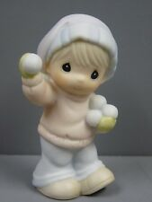 PRECIOUS MOMENTS SUGAR TOWN SAMMY BOY WITH SNOWBALLS CHRISTMAS COLLECTABLE