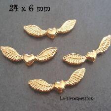 PM07 - LOT de 4 - PERLE MÉTAL, Ailes d'ange et Coeur, Doré ** 24 x 6 mm **