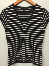 Express 100% CASHMERE Short Sleeved Sweater Large Cap Sleeve Stripes A19