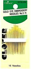 Clover Gold Eye Embroidery Needles Size 3-9 Easy Thread Sew Gold Reduce Static
