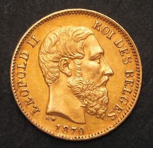 1870, Kingdom of Belgium, Leopold II. Beautiful Gold 20 Francs Coin. 6.44gm!