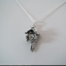 Cuckoo Clock Charm Necklace - 925 Sterling Silver - German Clock Coocoo Swiss
