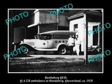 OLD POSTCARD SIZE PHOTO OF BUNDABERG QUEENSLAND THE QATB AMBULANCE CAR c1928