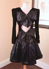 Vtg 80s Black Velvet Contrast Bow Back Formal Prom Party Dress Costume 10 Retro
