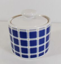 Nautica Crew Tablewares Blue Plaid Sugar Bowl-Jar w/Lid-Stoneware