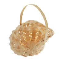 1/12 Dolls House Mini Woven Flower White Basket with Handle Model Toys Decor