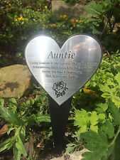 ENGRAVED HEART STAKE GRAVE FUNERAL MEMORIAL, AUNTIE LOSING SOMEONE IS THE HARDES