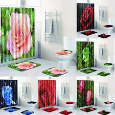 Rose Shower Curtain Floral Rustic Flower Blossom Bathroom Decor Fabric Set Rug