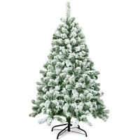 4.5FT Snow Flocked Artificial Christmas Tree Hinged w/400 Tips and Foldable Base