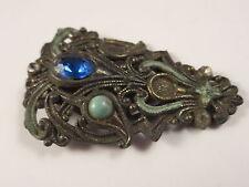 Antique Art Deco NE Signed New England Glass Works Blue Rhinestone Dress Clip
