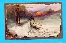 Tucks Christmas Greetings Vintage Postcard Geese
