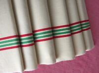 6 VINTAGE FRENCH UNUSED LINEN METIS TORCHON TEA TOWEL RED & GREEN FLEUR BSTRIPES