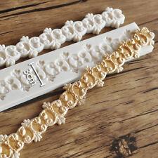 Sollievo barocco catena Silicone Muffa Fondente Torta Vintage bordo pasta di zucchero STAMPO