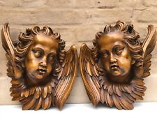 AUTUMN SALE !Top Quality Large Walnut Winged Angels / Putti's/Cherubs circa 1900