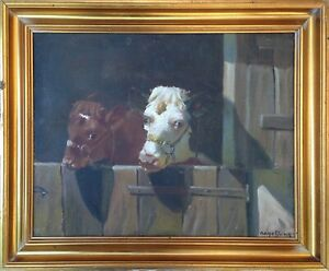 Aage Wang  (Mark Osman Curtis) 1879-1959: TWO CALVES IN BARN