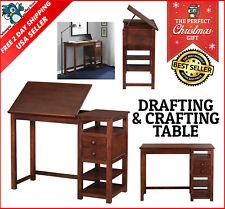 Vintage Drafting Table Adjustable Art Work Draw Wood Board Craft Counter Espreso
