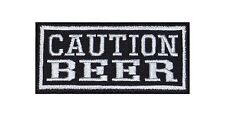 Caution Beer Biker Heavy Rocker Patch Aufnäher Kutte Bügelbild Motorrad Badge