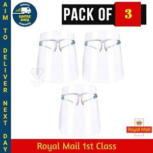 3 X Full Face Shield Anti Fog Glasses Protection Visor Lightweight Face Cover UK