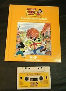 TALKING MICKEY MOUSE THE MISSING MEATBALL BOOK/TAPE WORLDS OF WONDER HARD COVER