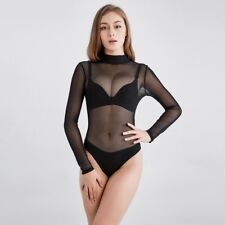 Lady See Through Bodysuit Leotard Catsuit Long Sleeve Mesh Sheer Transparent Top