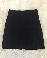 NWT JCrew Box pleated skirt in wool flannel 4P Black $128 F5815 NEW