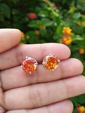 14.0 Total Carats Natural Cambodia ORANGE ZIRCON Round Silver Earrings