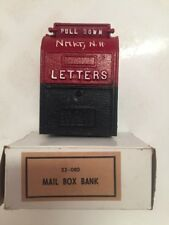 "VTG LETTERS Mail Box Coin Bank 4"" Red White & Blue #23-080 Newmarket NH Souvenir"