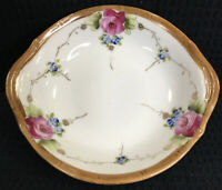 """TE-OH Nippon Hand Painted Oval China Bowl Gold Trim Roses Vintage 5.75"""" by 5.25"""""""
