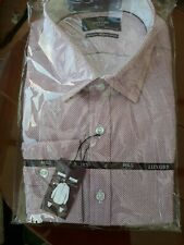 """LUXURY MENS M&S 17"""" COLLAR PINK MIX TWO FOLD COTTON TAILORED FIT FORMAL SHIRT"""