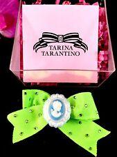 NIB TARINA TARANTINO NEON LIME GREEN CLOTH RHINESTONE CAMEO RIBBON BOW HAIR CLIP