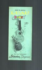 Collectible 1960s Schenley: How to give a Luau Party Food & Drink Recipes