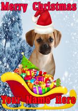 Puggle Dog Santa Sleigh nnc253 Christmas Xmas Card A5 Personalised Greetings