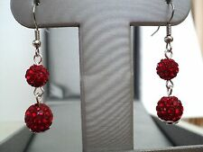 SHAMBALLA CRYSTAL BEADS FISH HOOK EARRINGS (RED COLOR) ITEM# CR 1677