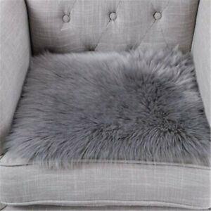 White Square Chair Seat Pad Cushion Fluffy Faux Fur Rug Mat Carpet Soft 40*40cm