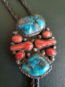 Vintage Navajo Sterling Silver Morenci Turquoise Red Coral Bolo Tie Tips