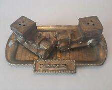 Vintage Brass Model T Cars Miniature Salt & Pepper Shakers Movieland Wax Museum