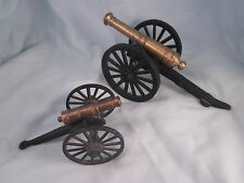 Lot of 2 Vintage Cast Iron and Brass Model Toy Civil War Field Cannon Canon