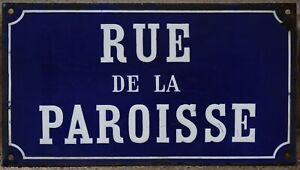 Old French enamel street sign road plaque plate rue de la Paroisse church parish