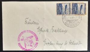 GERMANY 1936 ZEPPELIN Olympics Flight, Airship Hindenburg on Airmail Card FFM to