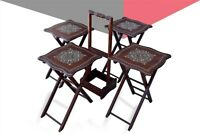 Rose Wood Hand made Mother of Pearl Inlaid Wood Nesting 4 Tables Serving Set