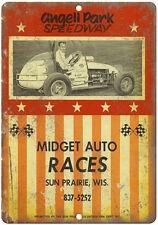 "Angell Park Speedway, Midget Auto Races 10"" x 7""  Retro Metal Sign"