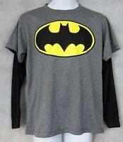 Batman Boys Cape T-Shirt Mock Layer Long Sleeve Gray Black Officially Licensed