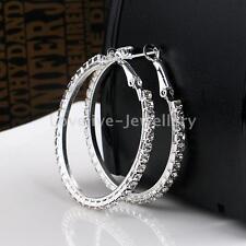 Women Crystal Diamante Rhinestone Silver Plated Hoop Round Earrings Jewelry Gift