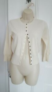 Pure Collection Ivory Cropped 3/4 Sleeve Cardigan 100% Cashmere . UK 10