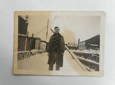Vintage 1940s B/W Photograph. Man in Winter Snow. Chestnut Fencing. DESBOROUGH
