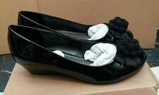 Clarks Evening Wide Fit Black Patent Low Wedge Shoes -  UK 5.5/EU 39