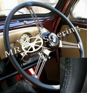 For MORRIS MINOR 1948 -1971 Black Real Leather Steering Wheel Cover black Stitch