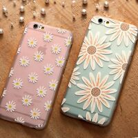 Sunflower Daisy Flowers Slim Soft TPU Clear Cute Case For iPhone 7 6 6S Plus SE